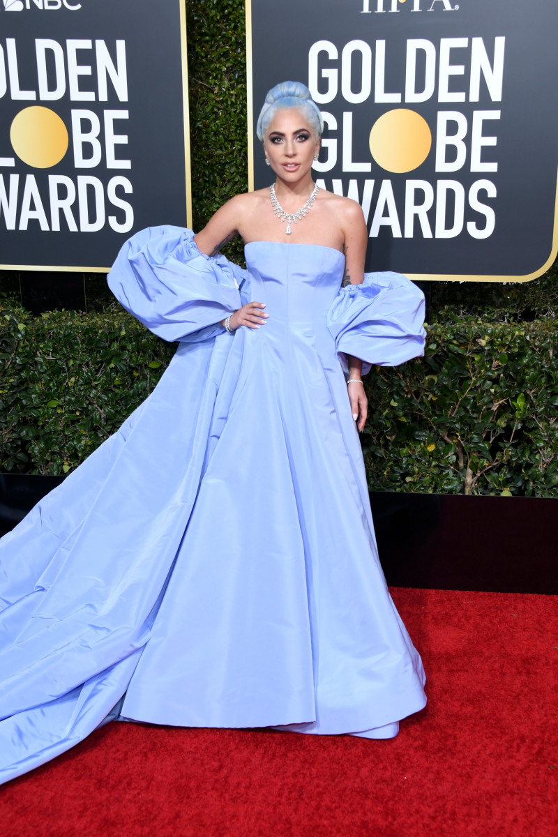 Lady Gaga in Valentino Haute Couture at the 2019 Golden Globes. Photo: Jon Kopaloff/Getty Images