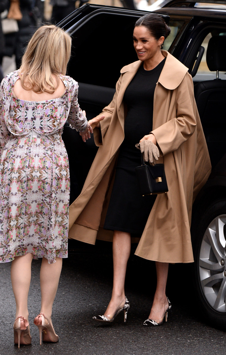 Meghan Markle, Duchess of Sussex in an Oscar de la Renta Coat and Hatch dress arriving at Smart Works in London. Photo: Photo by Jeff Spicer/Getty Images