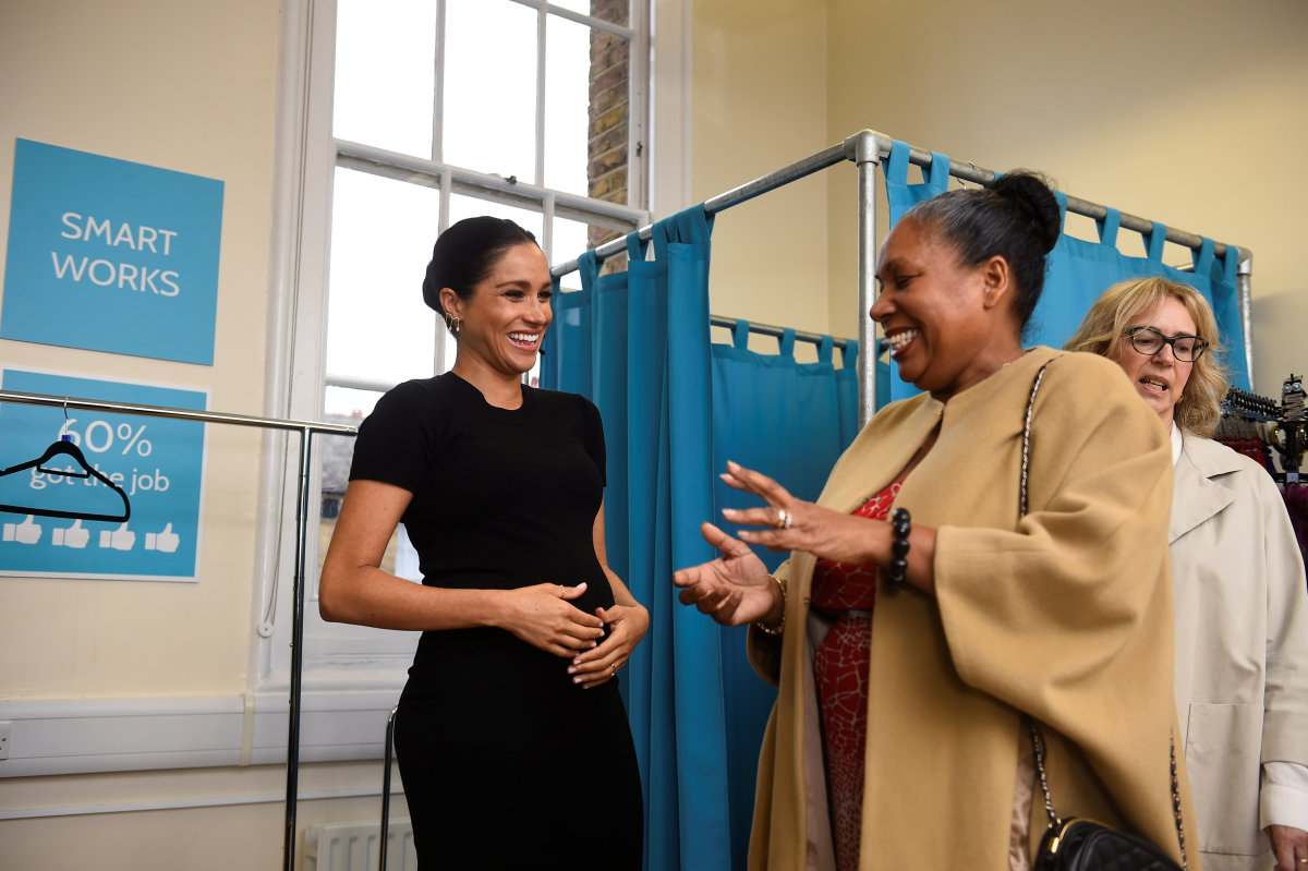 Markle in a Hatch dress at Smart Works in London. Photo: Clodagh Kilcoyne - WPA Pool/Getty Images