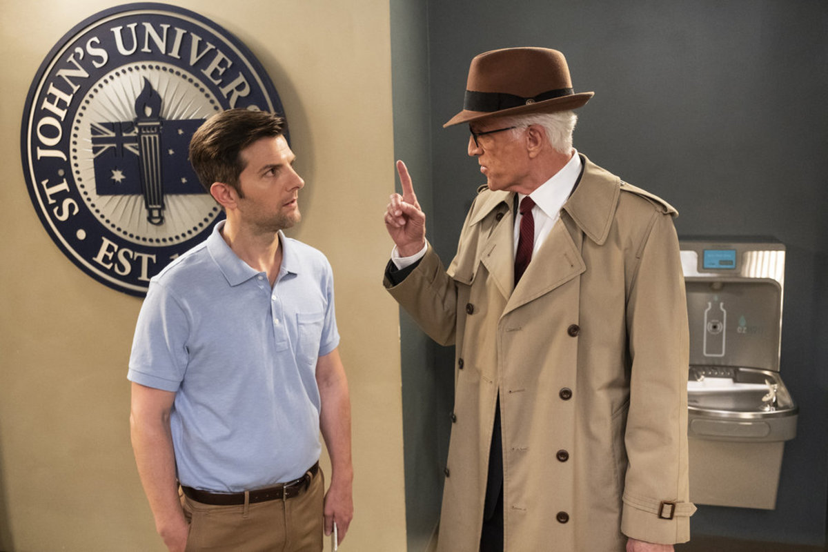 "Trevor (Adam Scott) bringing the ""dank memes"" and Michael (Ted Danson) attempting a Dick Tracy comeback. Photo: Colleen Hayes/NBC"