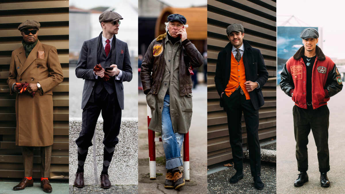 Newsboy caps at Pitti Uomo. Photos: Imaxtree