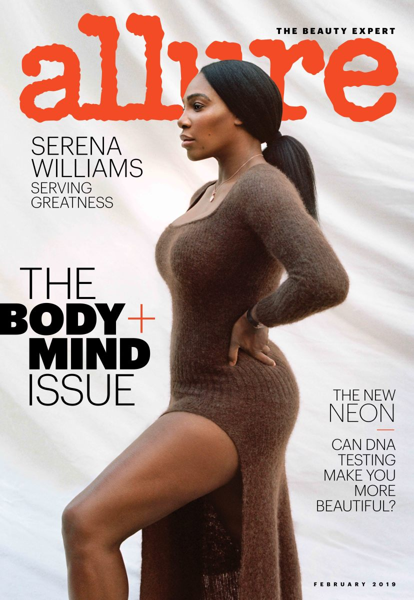 "Serena Williams on the cover of ""Allure'""s Body + Mind issue. Photo: Tanya and Zhenya Posternak for ""Allure"""