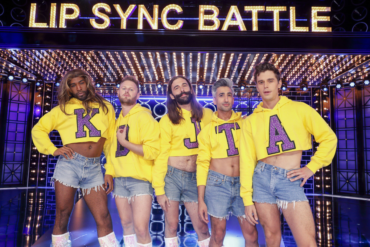 Go team! The Fab Five wear Tan's new trademark look on 'Lip Sync Battle.' Photo: Trae Patton for Paramount Network