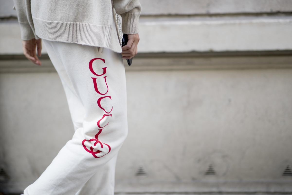 Gucci sweatpants at Paris Fashion Week. Photo: Imaxtree