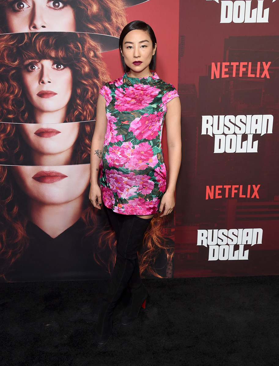"""Greta Lee in Balenciaga Spring 2008 at the Netflix """"Russian Doll"""" premiere in New York City. Photo: Jamie McCarthy/Getty Images"""