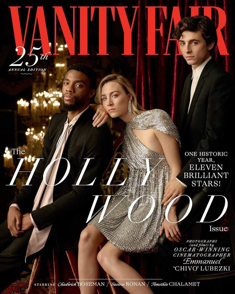 "Chadwick Boseman, Saoirse Ronan and Timothée Chalamet on the cover of ""Vanity Fair."" Photo: Emmanuel ""Chivo"" Lubezki"