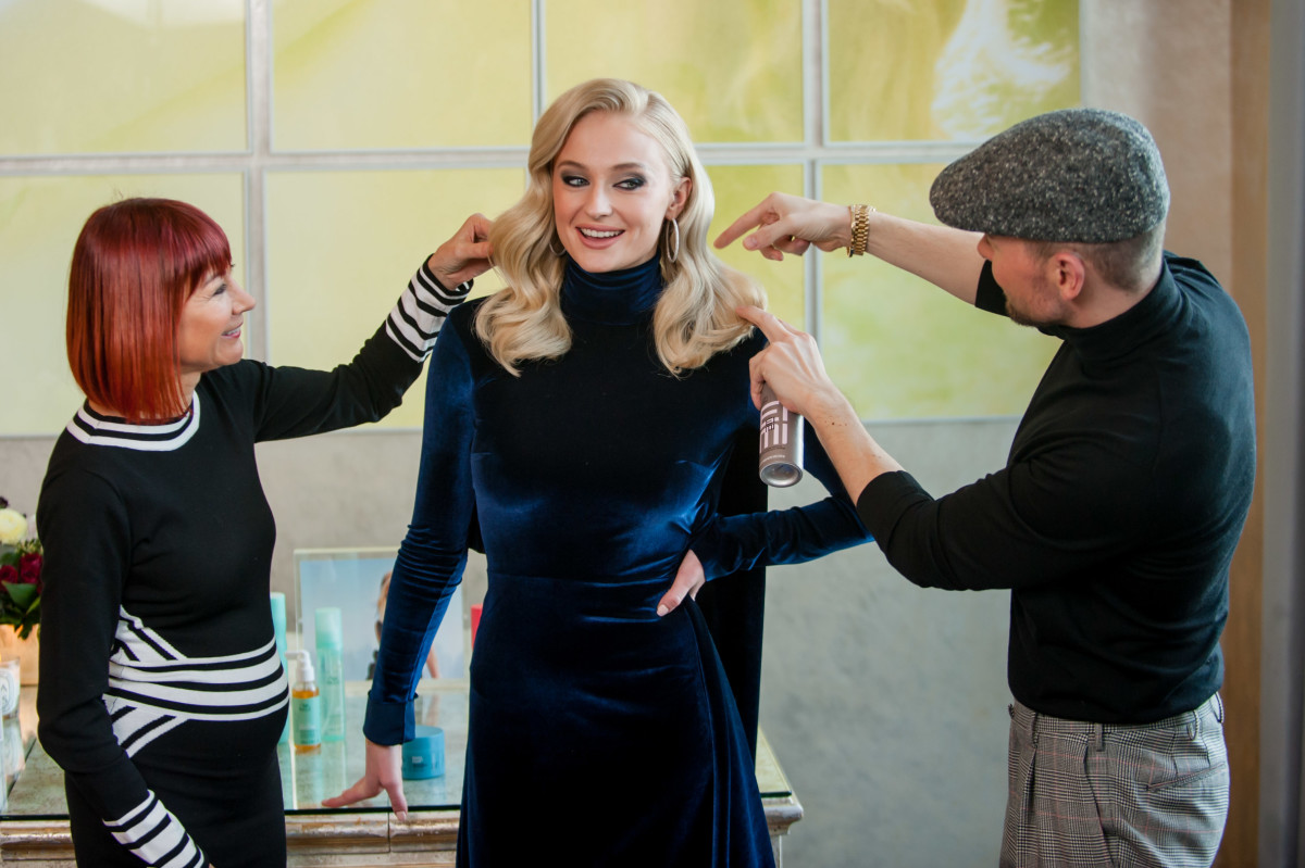 From left to right: colorist Sonya Dove, Turner and stylist Christian Wood. Photo: Lindsay Wynn for Wella Professionals