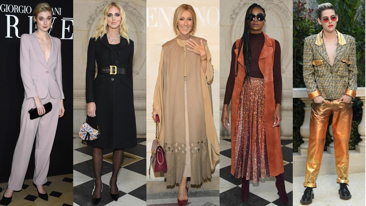 Elizabeth Dibicki, Chiara Ferragni, Celine Dion, Kiki Layne and Kristen Stewart at Couture Week in Paris. Photos: Getty Images