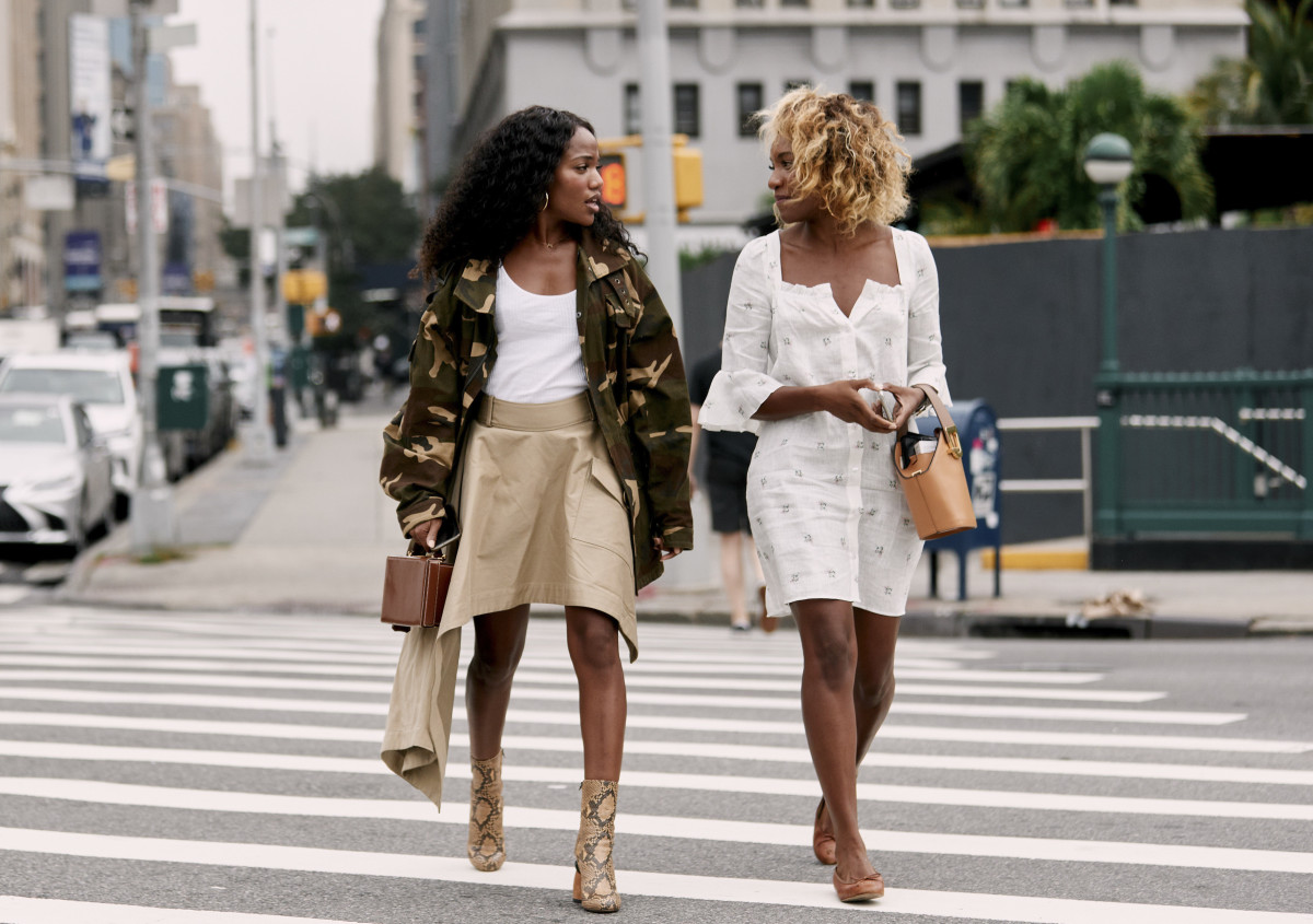 Bustle Senior Fashion Market Editor Gabby Prescod (left) and BET Style Director Danielle Prescod (right) at New York Fashion Week. Photo: Imaxtree