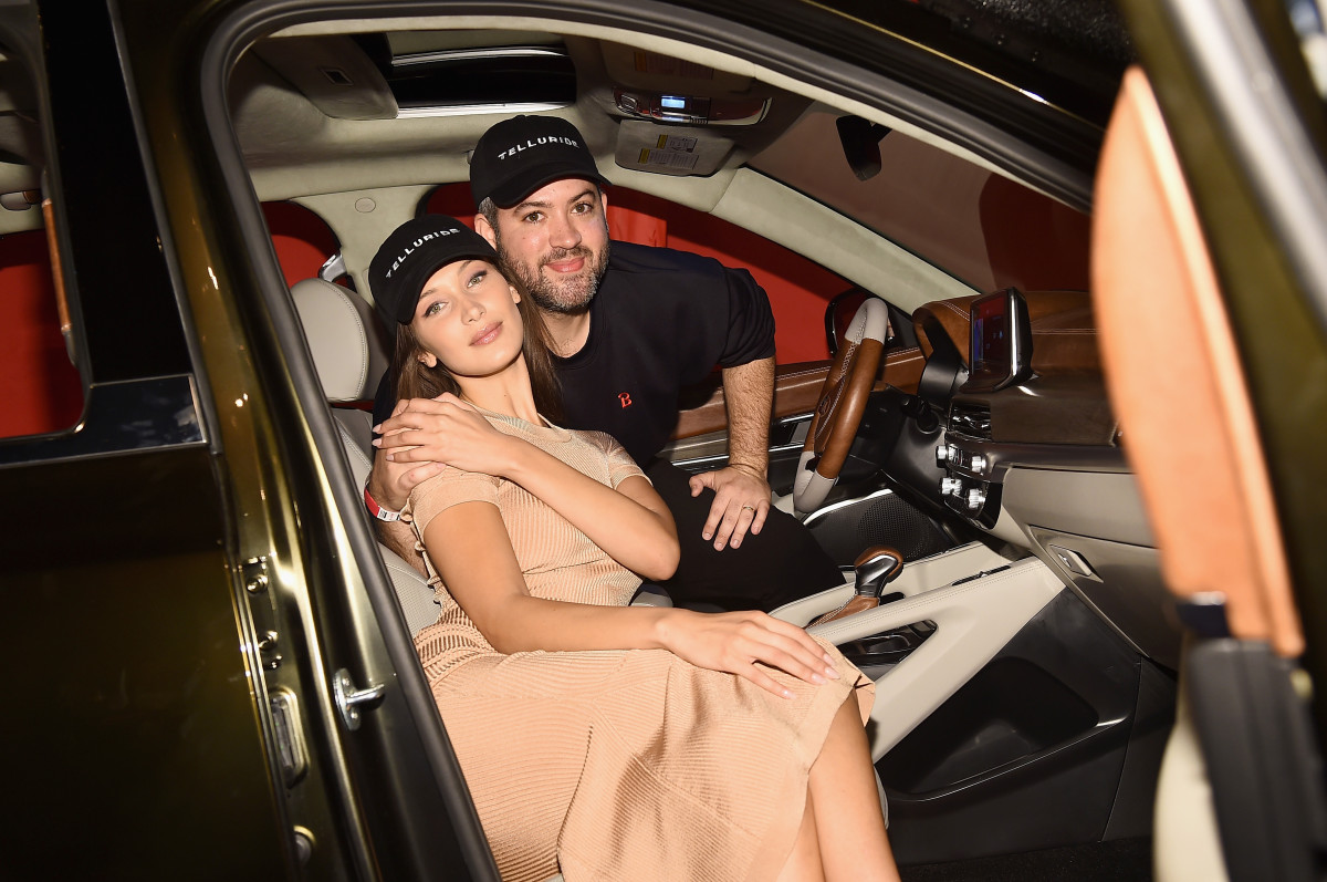 Bella Hadid and Brandon Maxwell in a Kia at the designer's Spring 2019 show. Photo: Ilya S. Savenok/Getty Images for IMG
