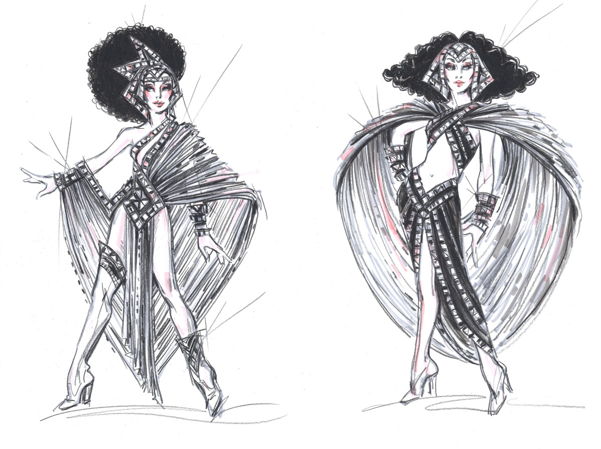 "Mackie's last minute finale ""Warrior Goddess"" looks for Lady (left) and Star (right). Sketches: Courtesy Bob Mackie/'The Cher Show'"