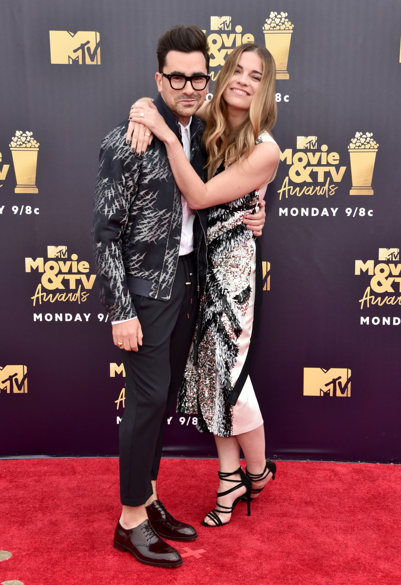 """Stop doing that with your face."" Dan Levy and Murphy at the MTV Movie Awards in June 2018. Photo: Alberto E. Rodriguez/Getty Images for MTV"