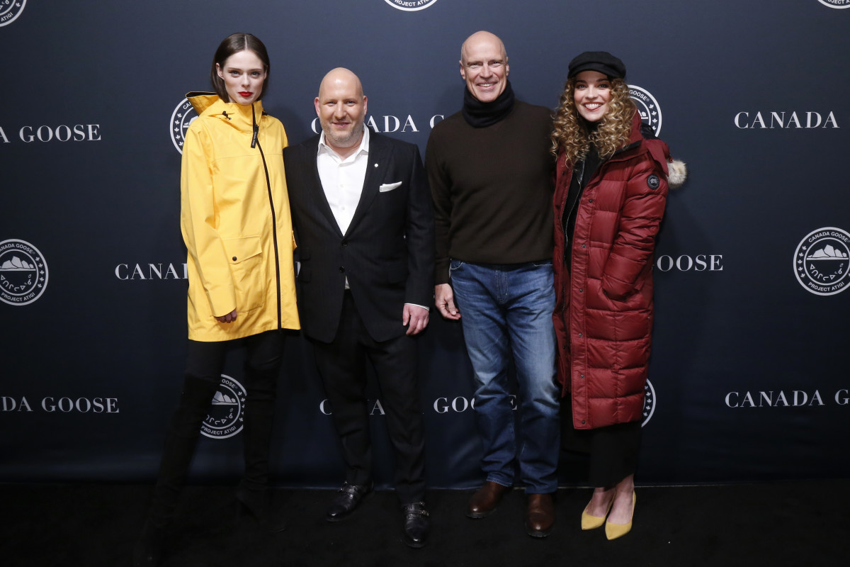 (L-R) Coco Rocha, Canada Goose President & CEO Dani Reiss, hockey player Mark Messier and Murphy at the Canada Goose Project Atigo event. Photo: Jason DeCrow/AP Images for Canada Goose/Courtesy Canada Goose