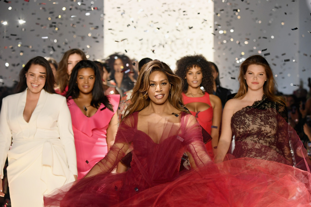 Laverne Cox closing 11 Honoré's first-ever runway show. Photo: Mike Coppola/Getty Images