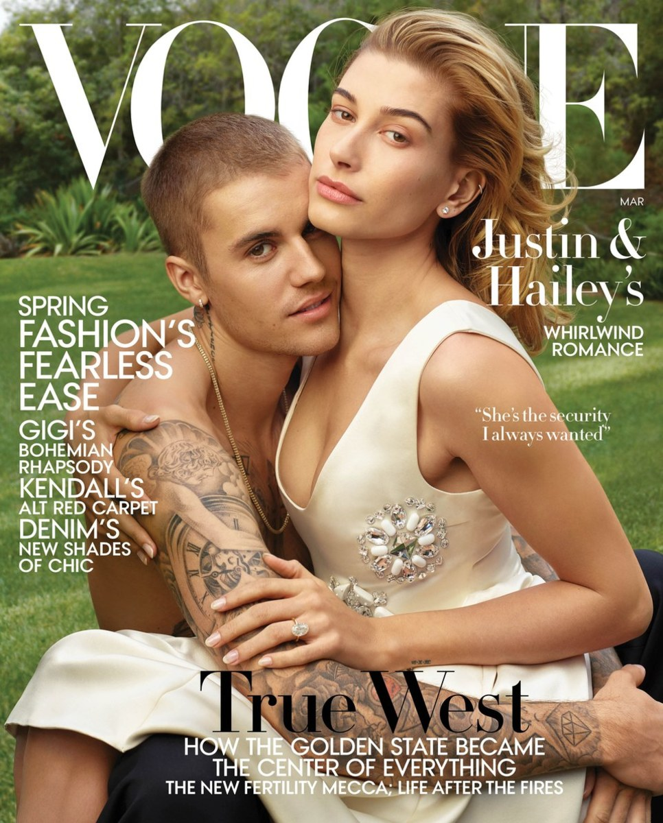 "Justin and Hailey Bieber on the March 2019 cover of ""Vogue."" Photo: Annie Leibovitz"