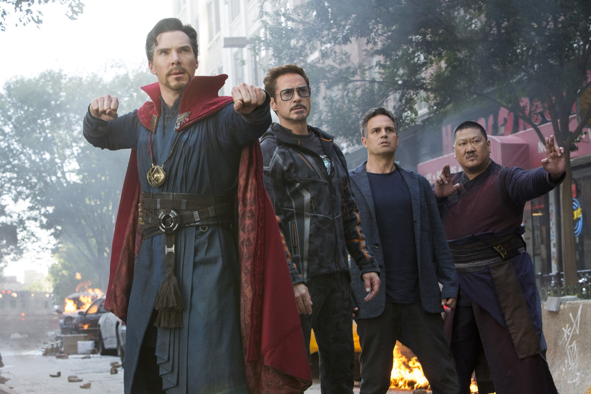 """The wonderful thing about superhero movies — that you don't get in other films — is that you're collaborating with all your other costume designer friends, which we never get to do,"" says Makovsky. Doctor Strange (Benedict Cumberbatch), Tony Stark (Robert Downey, Jr.), Bruce Banner (Mark Ruffalo) and Wong (Benedict Wong). Photo: Courtesy of Marvel Studios"