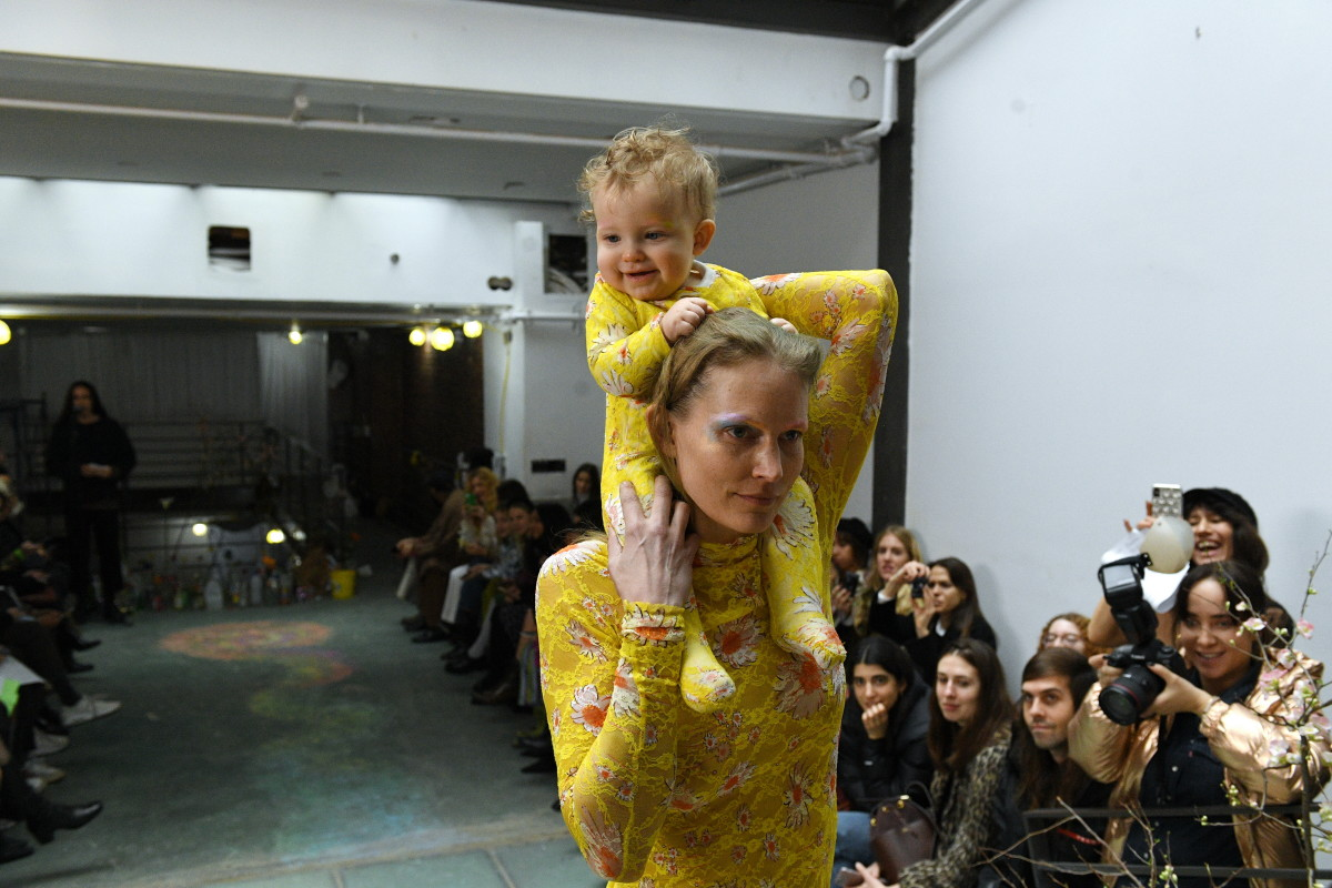 Baby and mom models on the runway at Collina Strada. Photo: Mitchel Sams/Courtesy of Collina Strada
