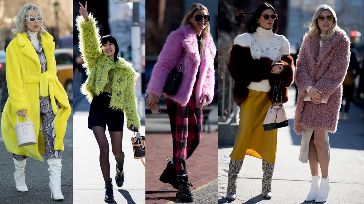 Colorful cozy coats at New York Fashion Week. Photos: Imaxtree