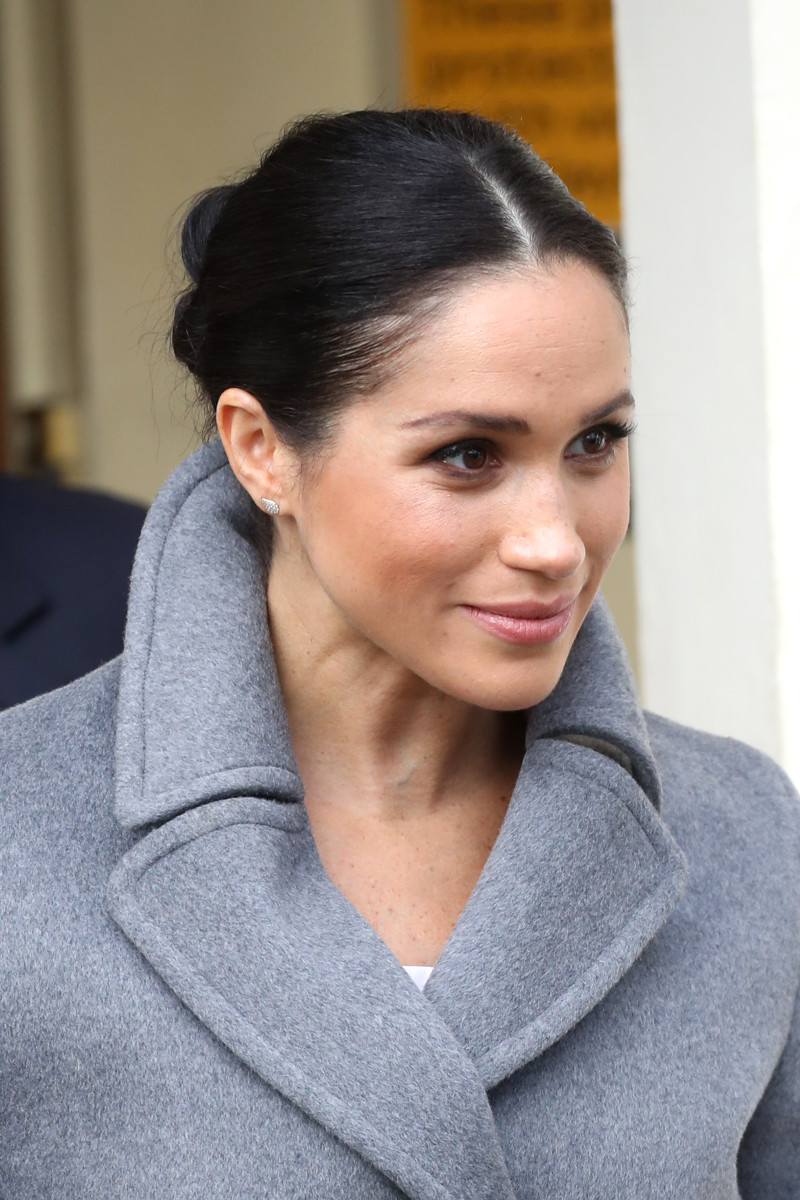 Meghan Markle in a signature sleek bun. Photo: Chris Jackson/Getty Images