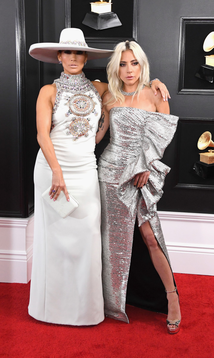 Jennifer Lopez in Armani Privé and Lady Gaga in Celine by Hedi Slimane at the 61st Annual Grammy Awards. Photo: Steve Granitz/WireImage