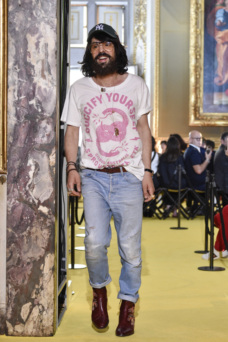 Alessandro Michele at the Gucci Cruise 2018 show. Photo: Pietro D'Aprano/Getty Images