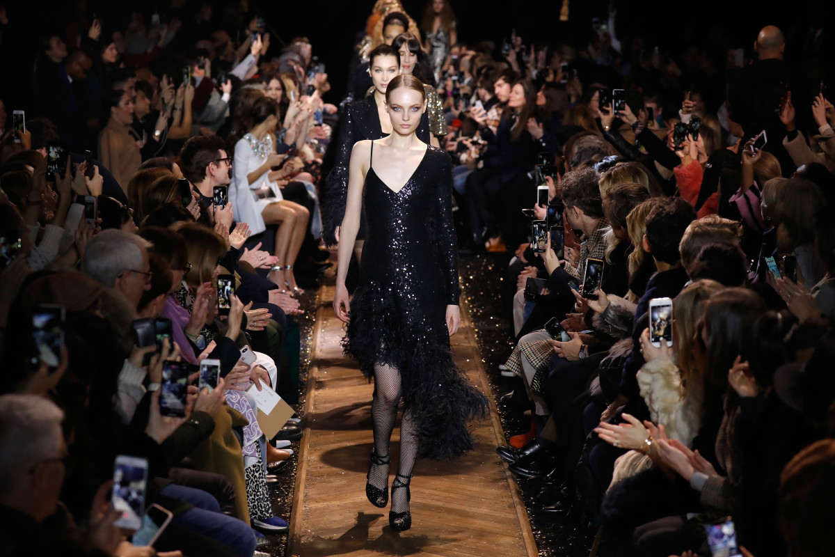 Fran Summers (and hi Bella Hadid!) walks the Michael Kors Fall 2019 runway at New York Fashion Week. Photo: JP Yim/Getty Images for Michael Kors