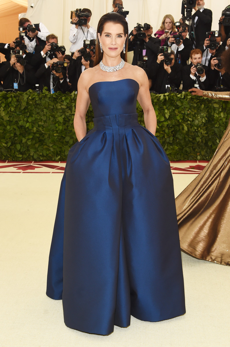 Brooke Shields in Zac Posen at the 2018 Met Gala. Photo: Jamie McCarthy/Getty Images