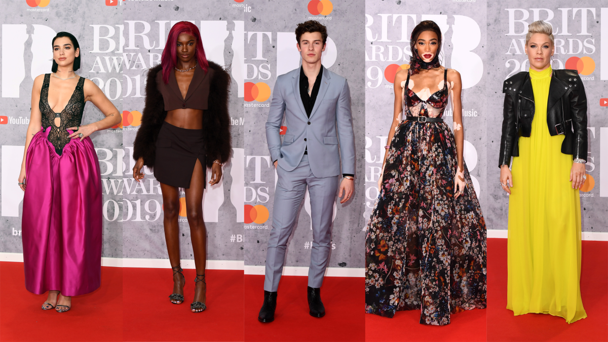 Dua Lipa, Leomie Anderson, Shawn Mendes, Winnie Harlow and Pink at the 2019 Brit Awards. Photos: Jeff Spicer/Getty Images
