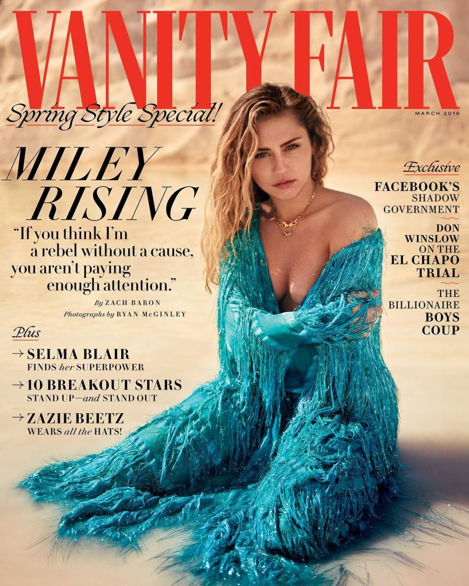 "Miley Cyrus on the March 2019 cover of ""Vanity Fair."" Photo: Ryan Mcginley"