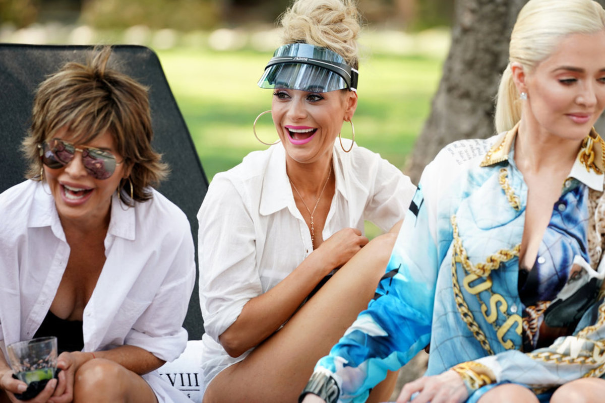 Rinna, Dorit Kemsley and Erika Jayne at Kyle Richards's pool party on 'RHOBH.' Photo: Nicole Weingart/Bravo