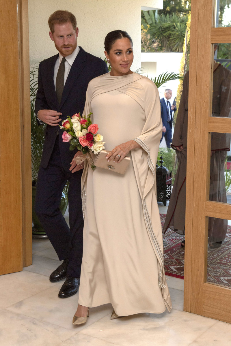 Meghan Markle in custom Dior at a reception hosted by the British Ambassador to Morocco. Photo: Arthur Edwards - Pool/Getty Images