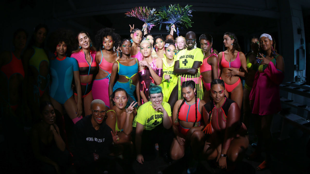 Models with designer Becca McCharen-Tran and casting director Gilleon Smith at Chromat's Fall 2019 show. Photo: Bennett Raglin/Getty Images for Chromat