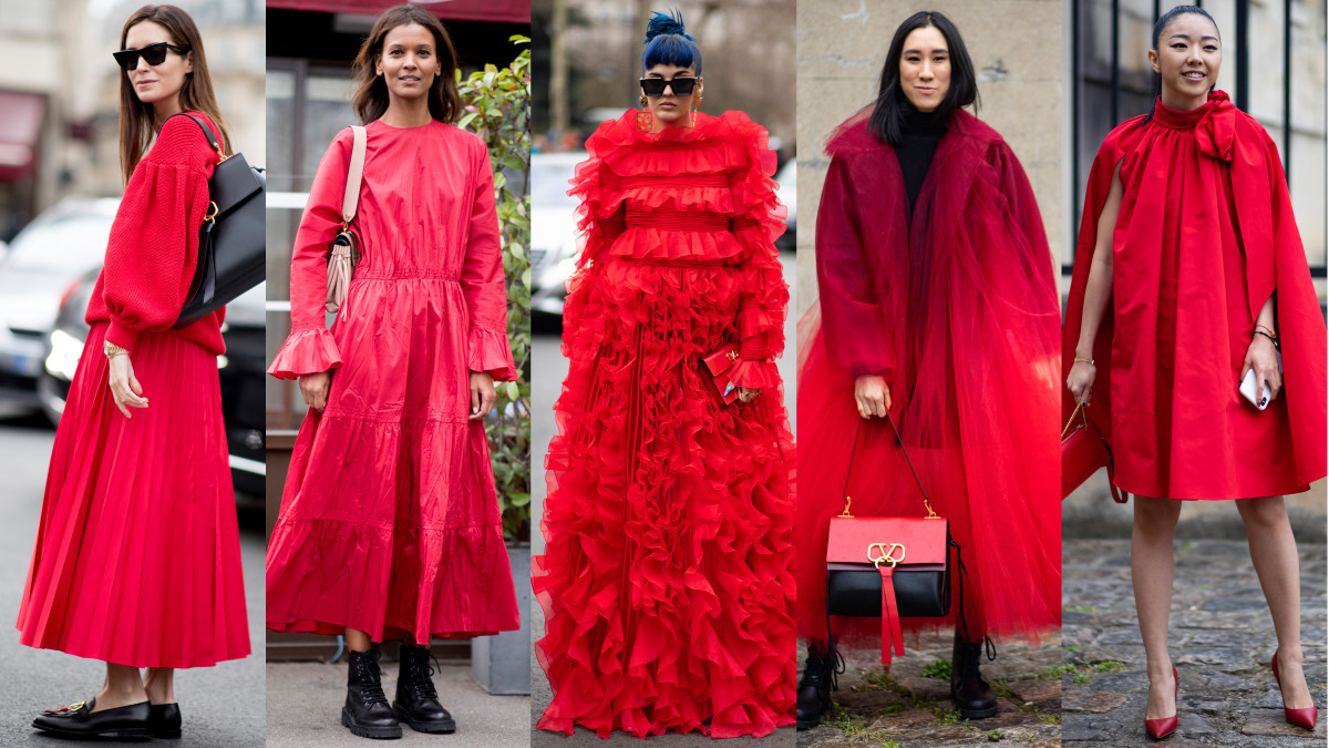 Red outfits at Paris Fashion Week. Photos: Imaxtree (2); Chiara Marina Grioni/Fashionista (3)
