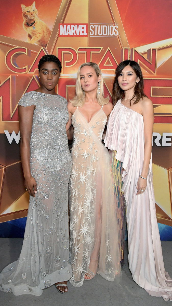 "Lashana Lynch, Brie Larson and Gemma Chan at the Los Angeles premiere of ""Captain Marvel"" in Hollywood, California. Photo: Charley Gallay/Getty Images"