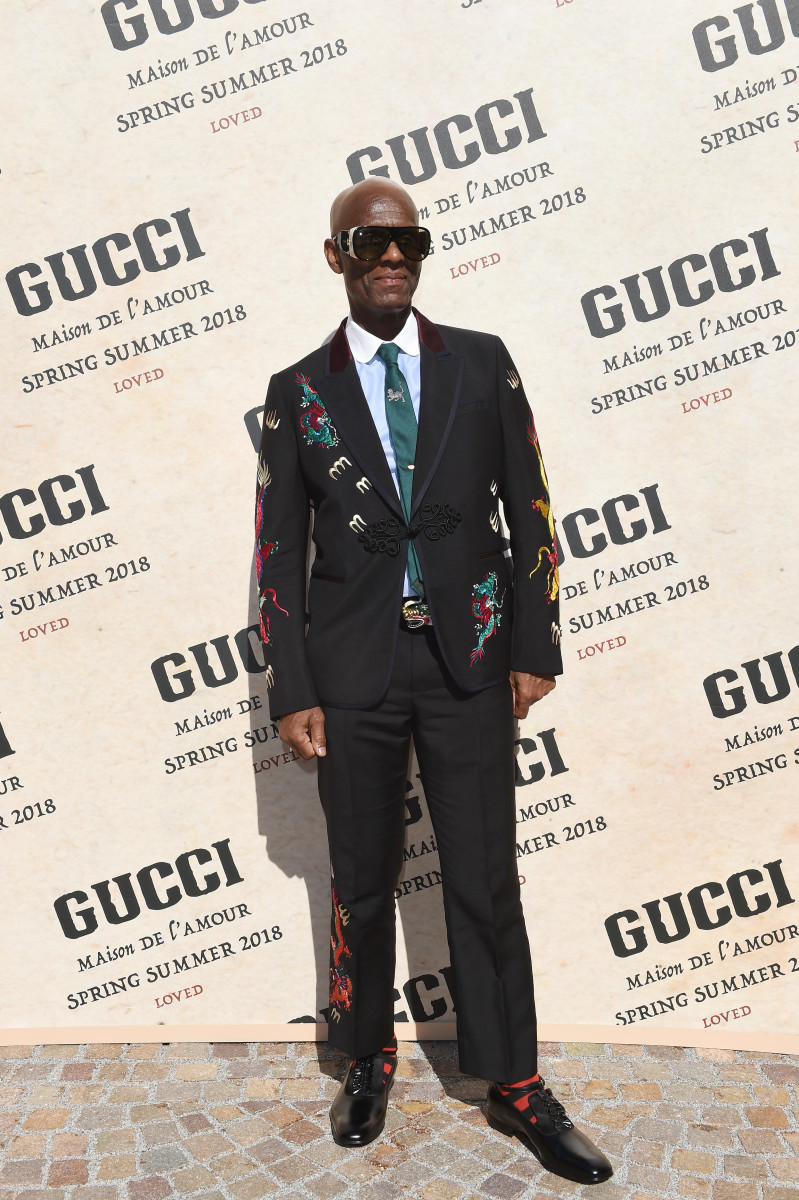 Dapper Dan at Gucci's Spring 2019 runway show. Photo: Stefania M. D'Alessandro/Getty Images for Gucci