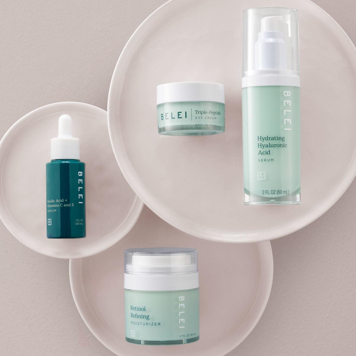 Products from Amazon's new Belei skin-care range. Photo: Courtesy of Amazon