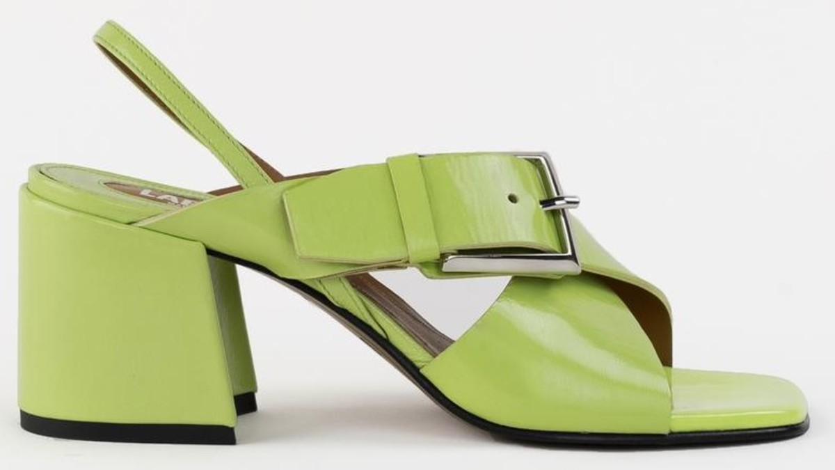 Labucq Chan Sandal in lime patent, $325, available here.