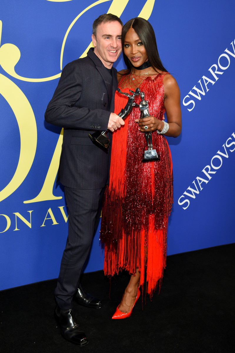 Raf Simons and Naomi Campbell at the 2018 CFDA Awards. Photo: Dimitrios Kambouris/Getty Images