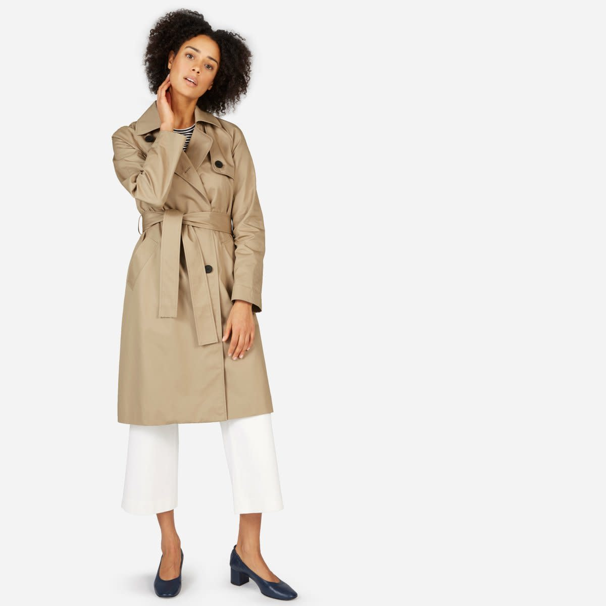 Everlane The Drape Trench Coat, $138, available here.