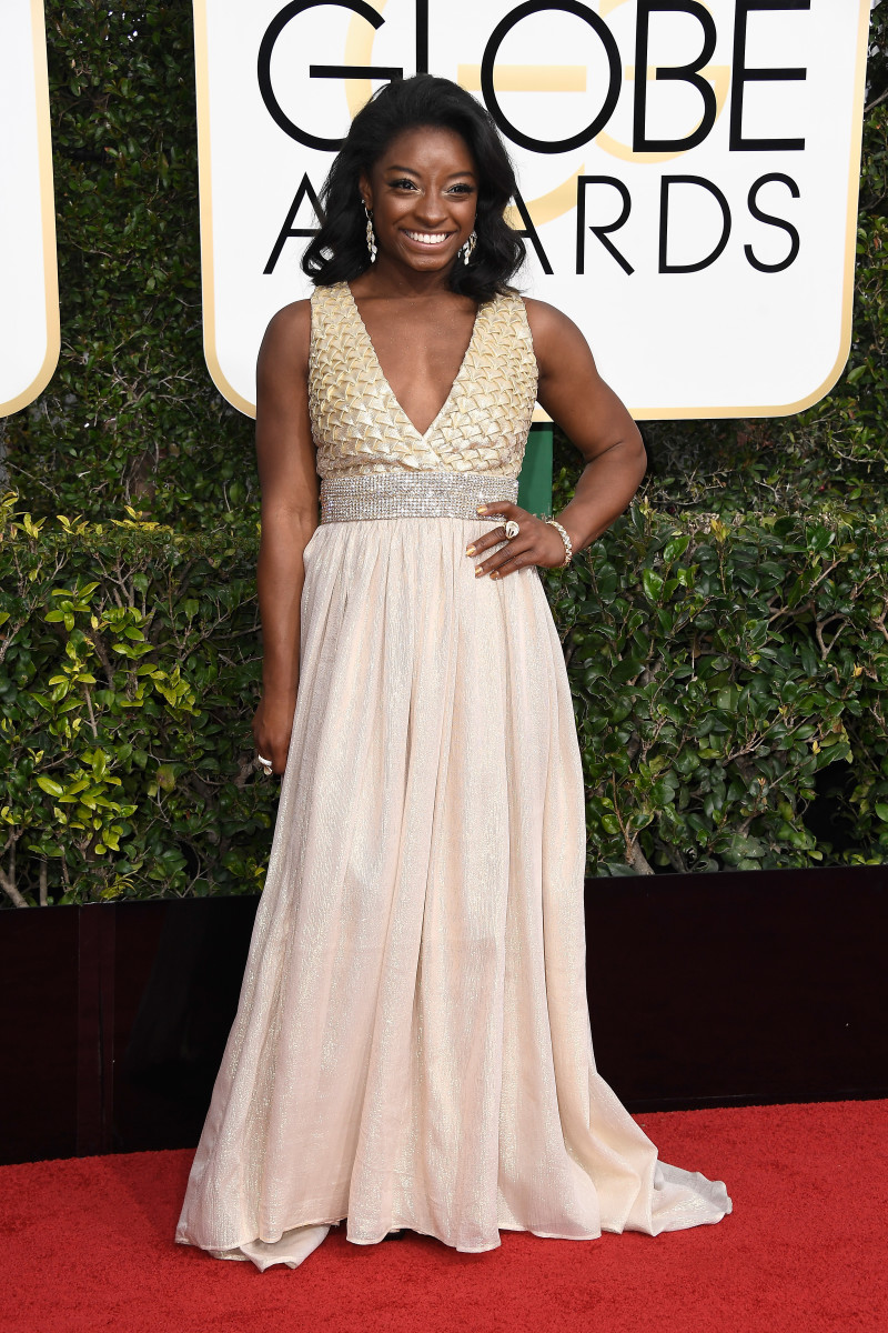 Simone Biles at the 2017 Golden Globes. Photo: Frazer Harrison/Getty Images
