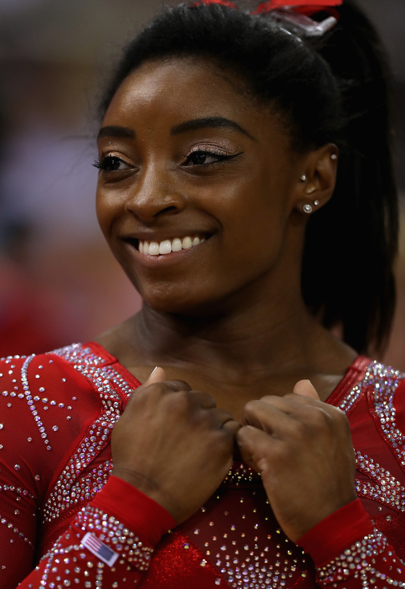 Simone Biles at the 2018 FIG Artistic Gymnastics Championships in Doha, Qatar. Photo: Francois Nel/Getty Images
