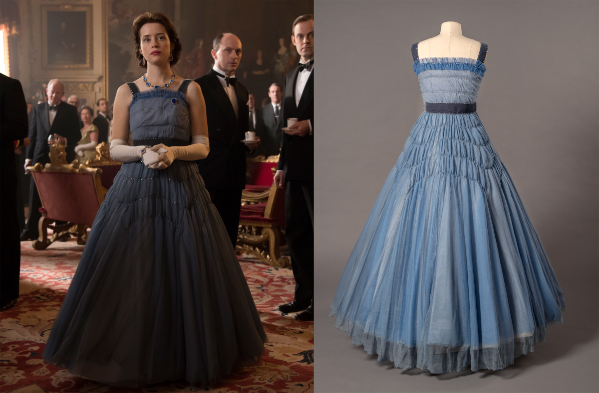 Left: Queen Elizabeth II (Claire Foy) in season two of 'The Crown. Photo: Alex Bailey / Netflix; Right: dress by Jane Petrie in the preparation process for 'Costuming the Crown.' Photo: Jim Schneck; Courtesy of Winterthur