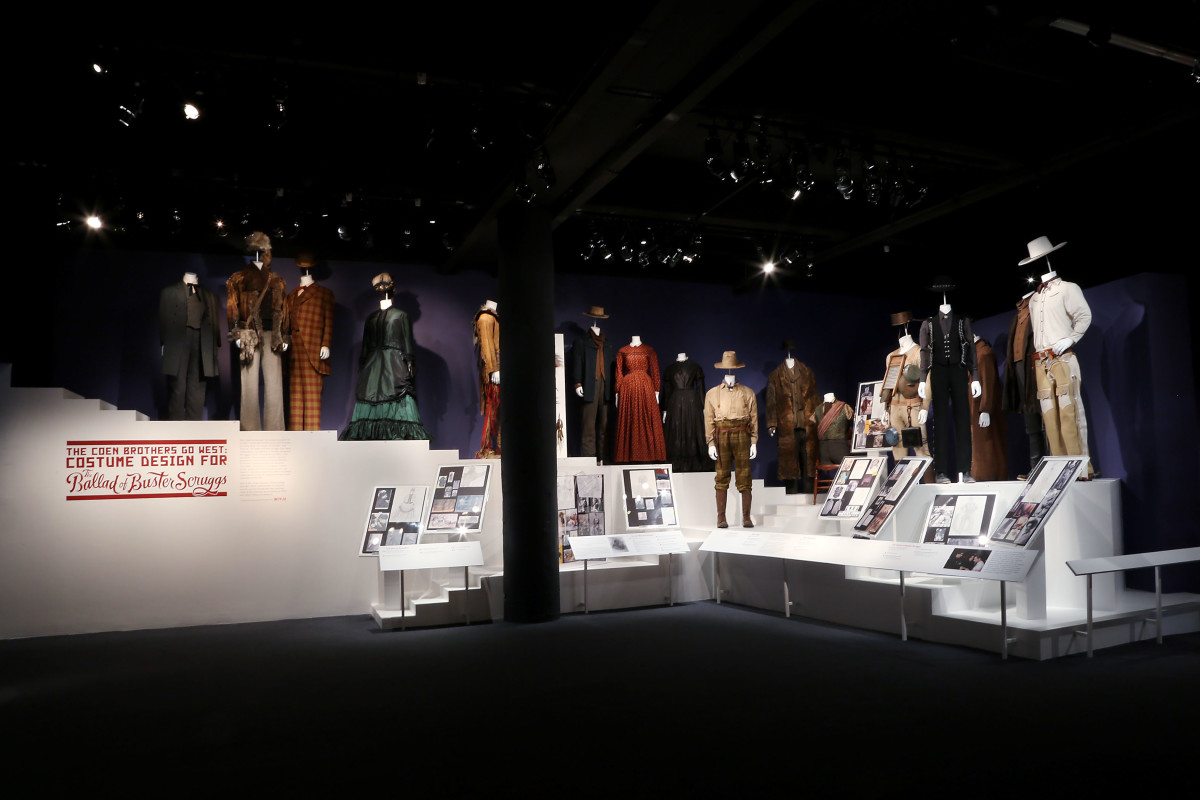'The Coen Brothers Go West: Costume Design for 'The Ballad of Buster Scruggs' exhibit at the Museum of hte Moving Image. The exhibition description labels also include mood boards, detailed information about crucial work done by the fabricators, agers and dyers and artisans behind building the pieces and custom work done by the hair artists. Photo: Patrick Huban / Starpix (courtesy of Netflix)