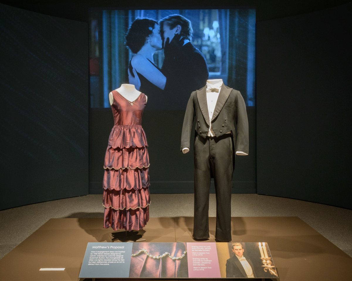 Mary and Matthew's proposal costumes by Caroline McCall in the 'Costumes of Downton Abbey' exhibit. Photo: Courtesy of Courtesy of Winterthur