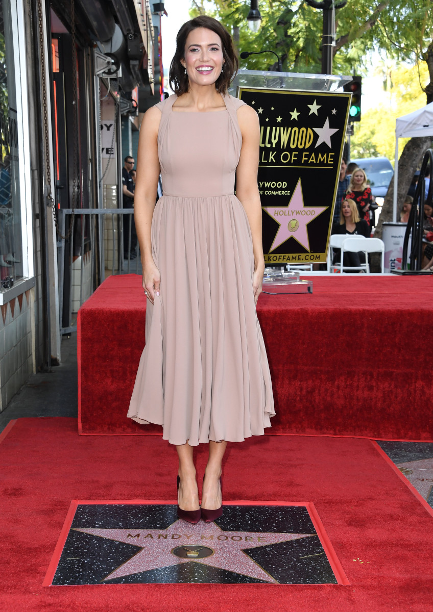Mandy Moore in Emilia Wickstead receiving her star on the Hollywood Walk of Fame. Photo: Steve Granitz/WireImage