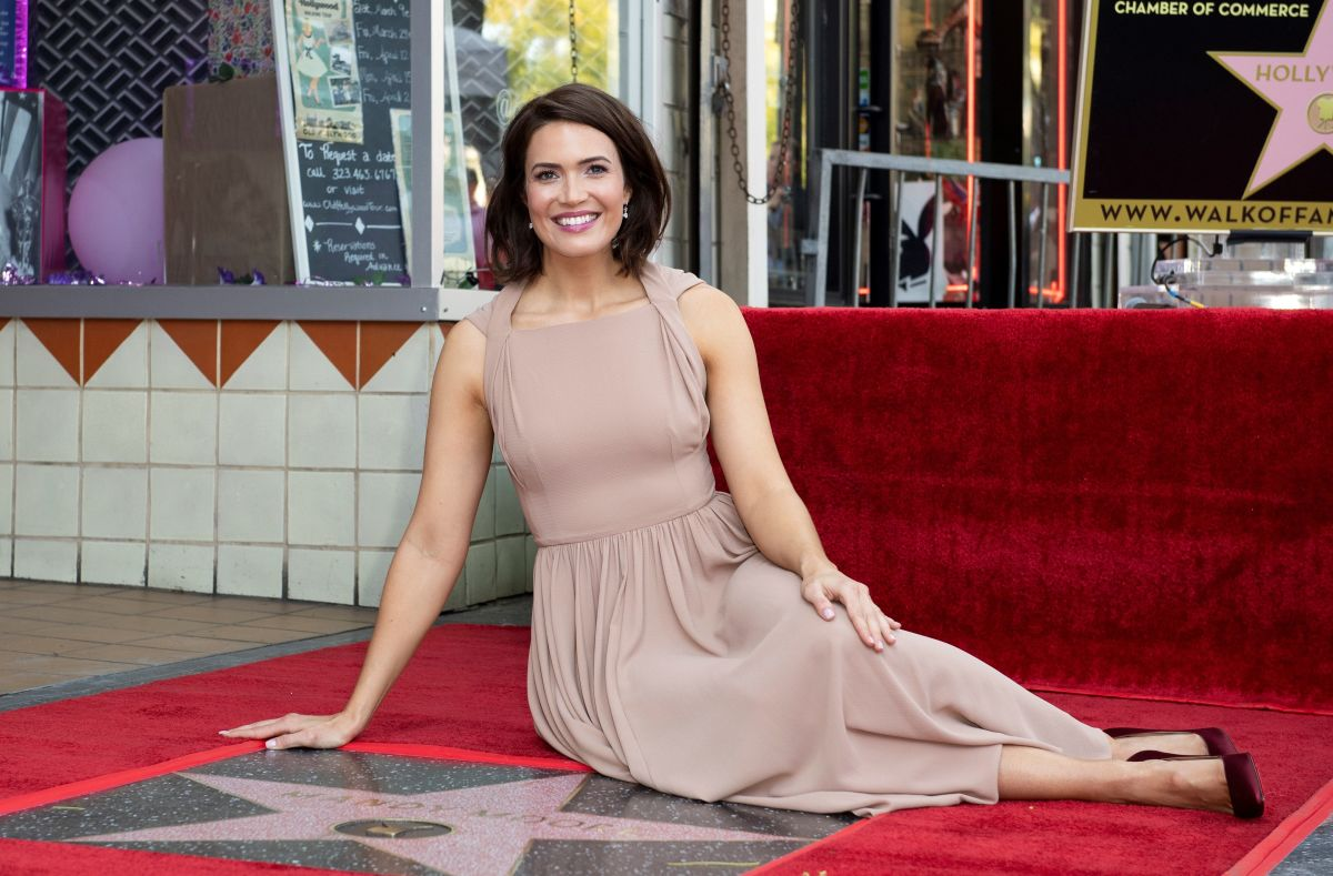 Mandy Moore in Emilia Wickstead receiving her star on the Hollywood Walk of Fame. Photo: Valerie Macon/AFP/Getty Images