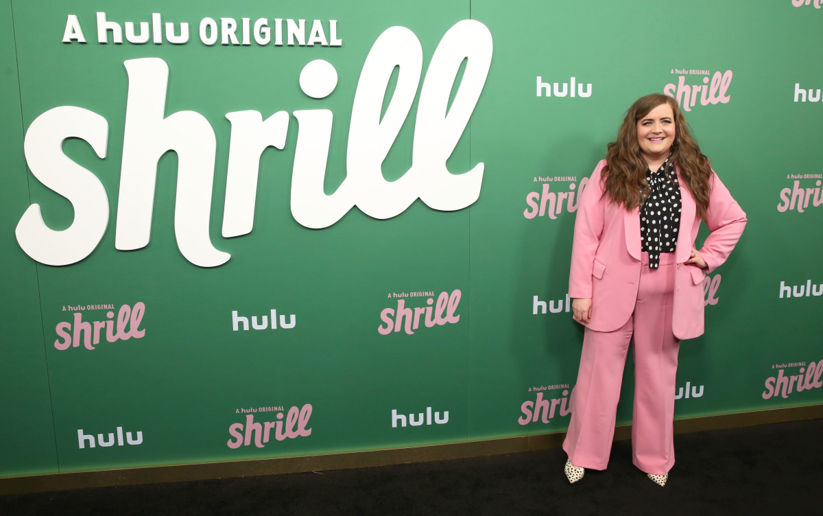 "Aidy Bryant in an Eloquii suit at the New York premiere of Hulu's ""Shrill."" Photo: Monica Schipper/Getty Images for Hulu"