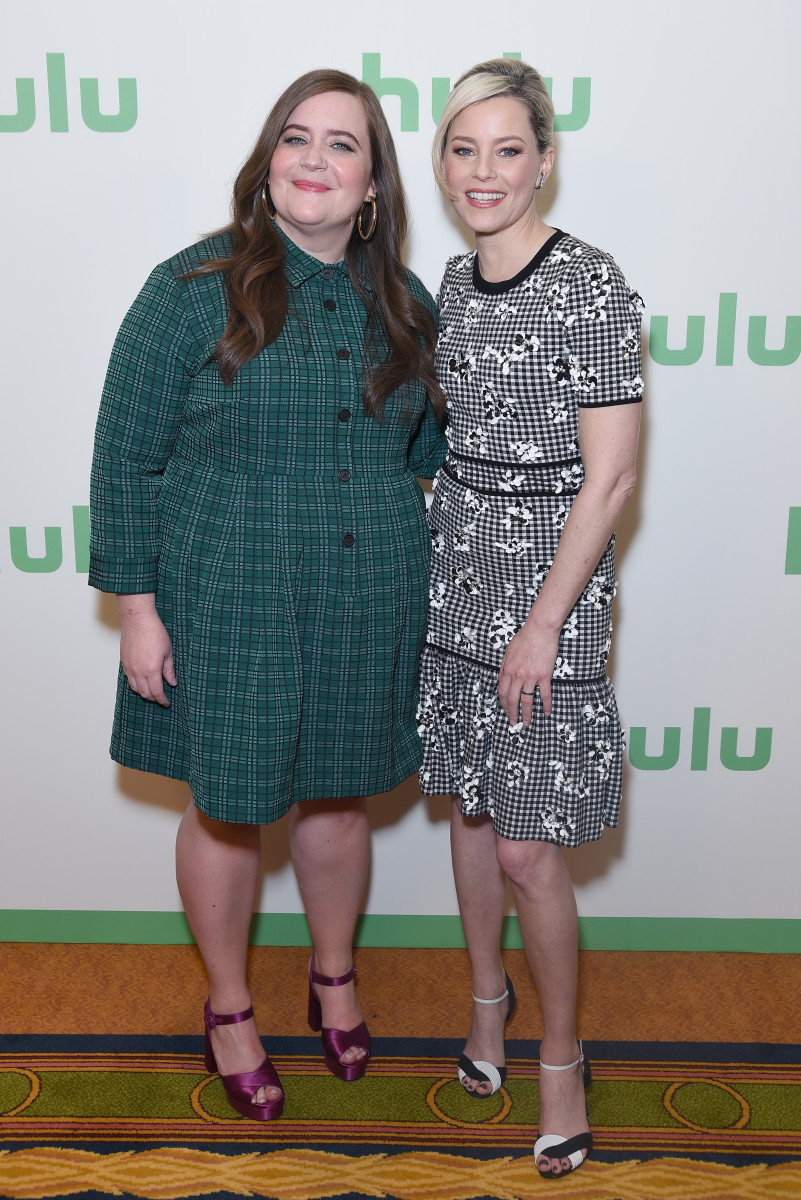 Aidy Bryant and Elizabeth Banks at the Hulu Panel. Photo: Presley Ann/Getty Images for Hulu