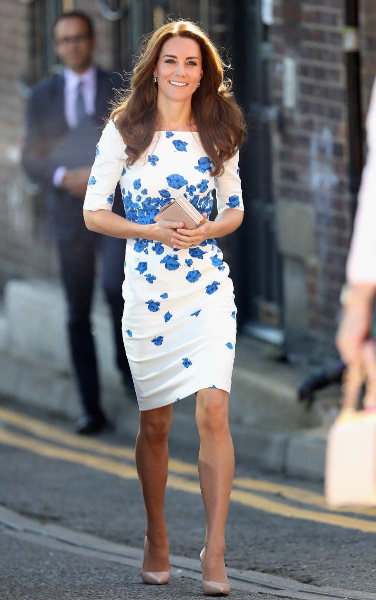 Duchess of Cambridge Kate Middleton in L.K. Bennett at Youthscape in Luton, England. Photo: Chris Jackson/Getty Images