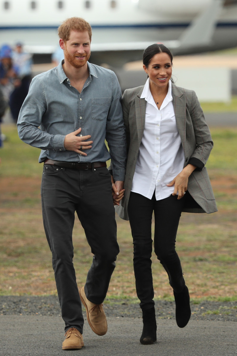 Duchess of Sussex Meghan Markle in Outland Denimwith Duke of Sussex Prince Harry in Dubbo, Australia. Photo: Cameron Spencer/Getty Images